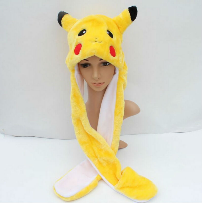 Anime Cartoon Trainer Pokemon go Cute Pikachu Plush Hat Cap with Gloves Cosplay