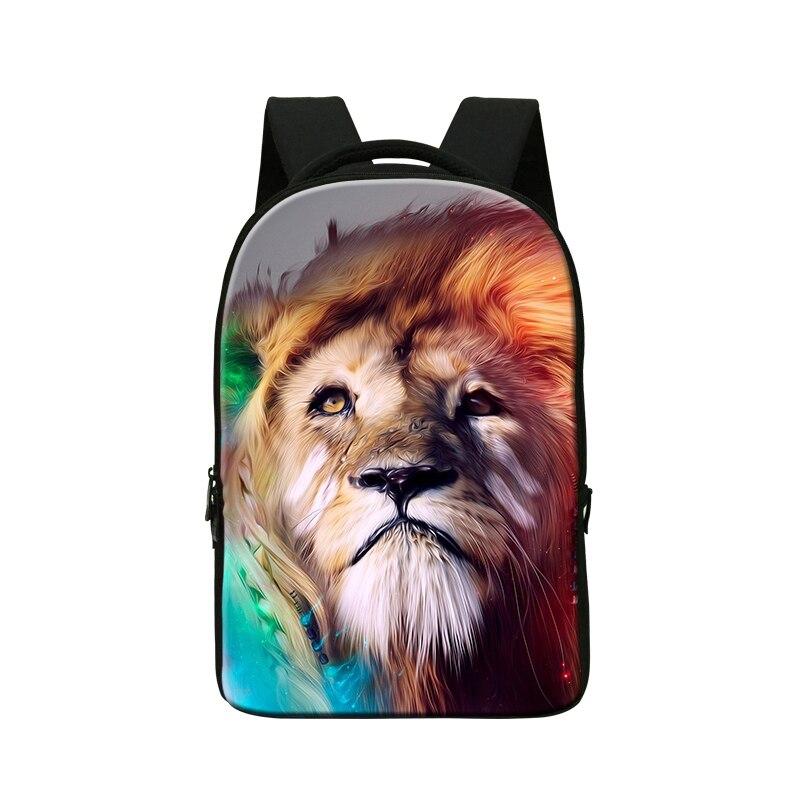 2016 sac à dos pour ordinateur portable imprimé animal pour hommes sac, sac à dos d'école pour garçons, sacs de bibliothèque d'université, sac de voyage, paquet de jour de lion pour les jeunes