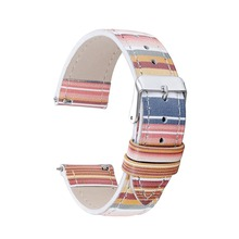 onthelevel Multicolor Rainbow Watch Strap Bracelet Watchband Genuine Leather 18 20 22 mm Accessories Wristband #D