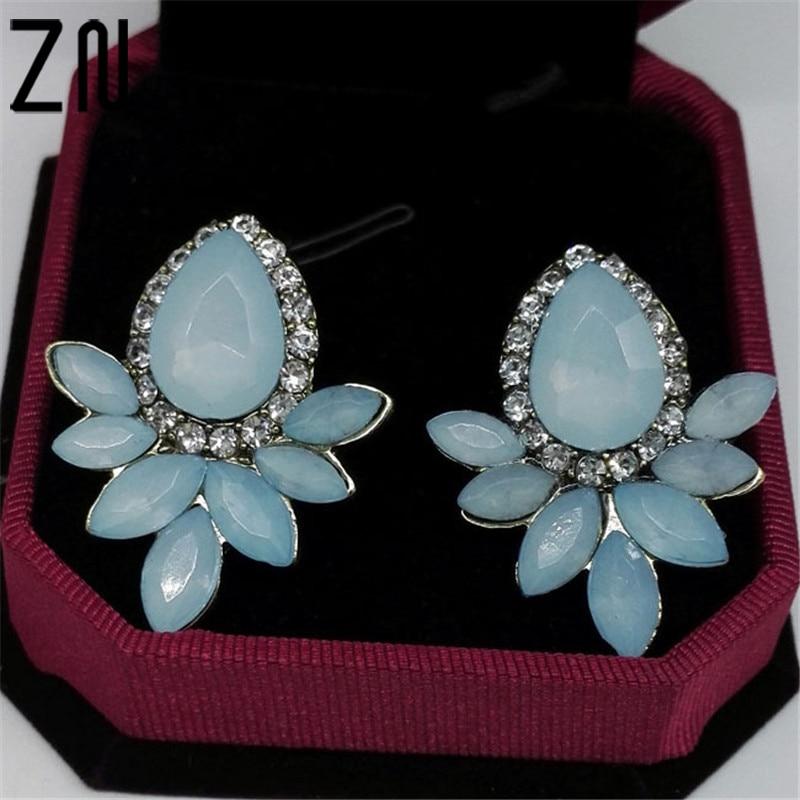 ZN New Womens Fashion Earrings Rhinestone white/blue Glass Black Resin Sweet Metal with Gems Ear Stud Earrings For Women Girls