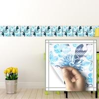 Funlife 20*20 cm * 10 pcs/set Auto adesivo decalque da parede pássaros e flor banheiro cozinha à prova d' água anti óleo de azulejos do banheiro adesivos