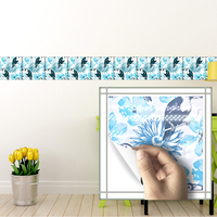 Funlife 20*20cm*10pcs/set Self adhesive wall decal birds and flower bathroom waterproof kitchen anti oil tiles stickers bathroom