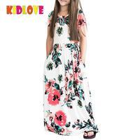 KIDLOVE דפוס פרח שרוול קצרה תינוקות בנות שמלת מותג אלגנטית ארוך מקסי שמלת קיץ החוף גבוהה אופנתי סגנון