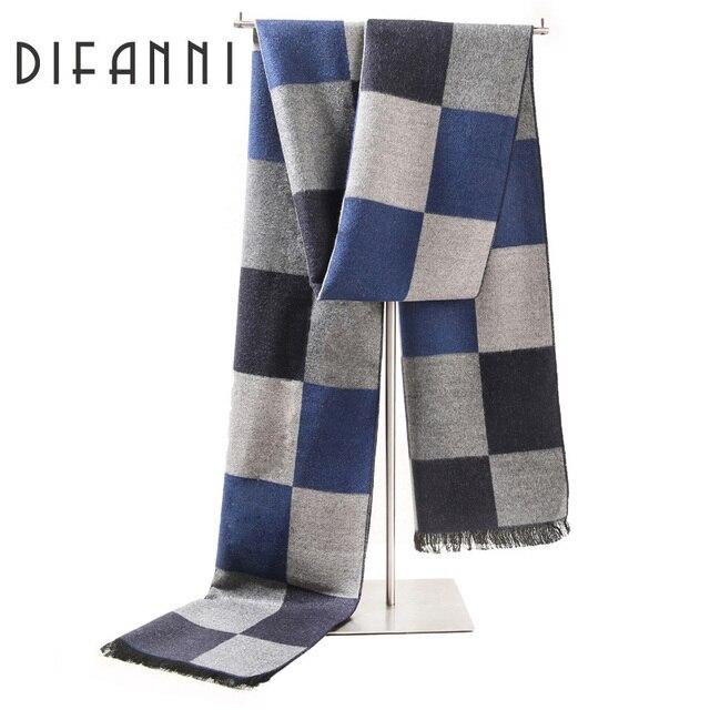 Difanni 2017 mode designer Hommes Classique Écharpe Hiver Chaud Doux Frange Rayé  Gland Châle Wrap écharpe 799ae7aafcf