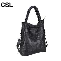Fashion Genuine Leather Women Handbags Patchwork Natural Sheepskin Shoulder Bag Famous Brand Women Tote Bags