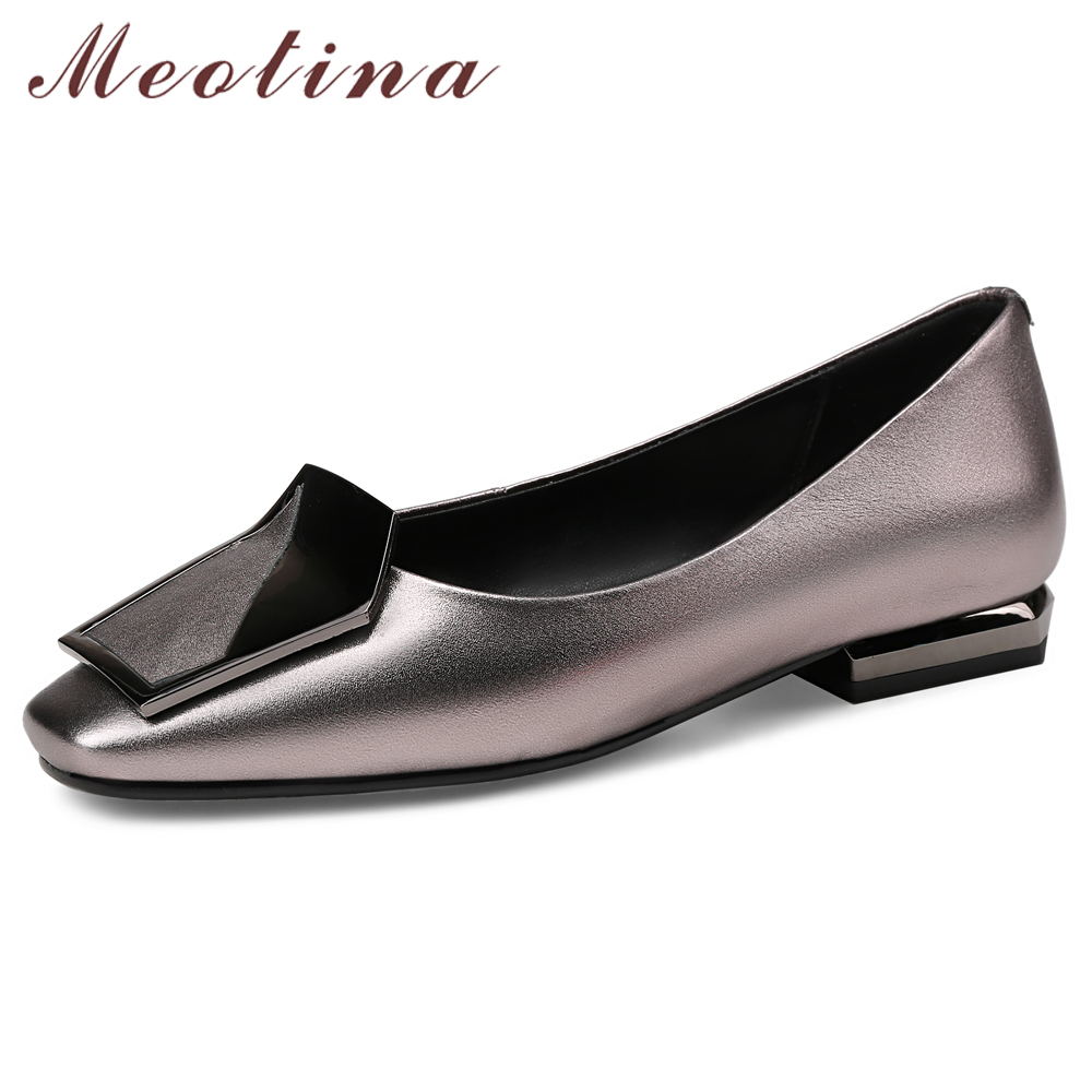 Meotina Ballet Flats Shoes Women Natural Real Leather Flat Loafers Shoes Genuine Leather Square Toe Boat