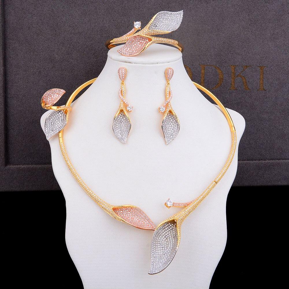 676237d3c27a 100% Oro 18K   oro blanco plateado Juego de joyas de boda para mujeres AAA  CZ Juego de joyas con diamantes de imitación