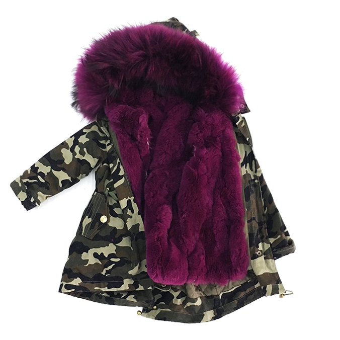 Parenting 2017 baby winter jacket women coat jacket natural real large raccoon fur collar jacket Rabbit fur thick warm Liner