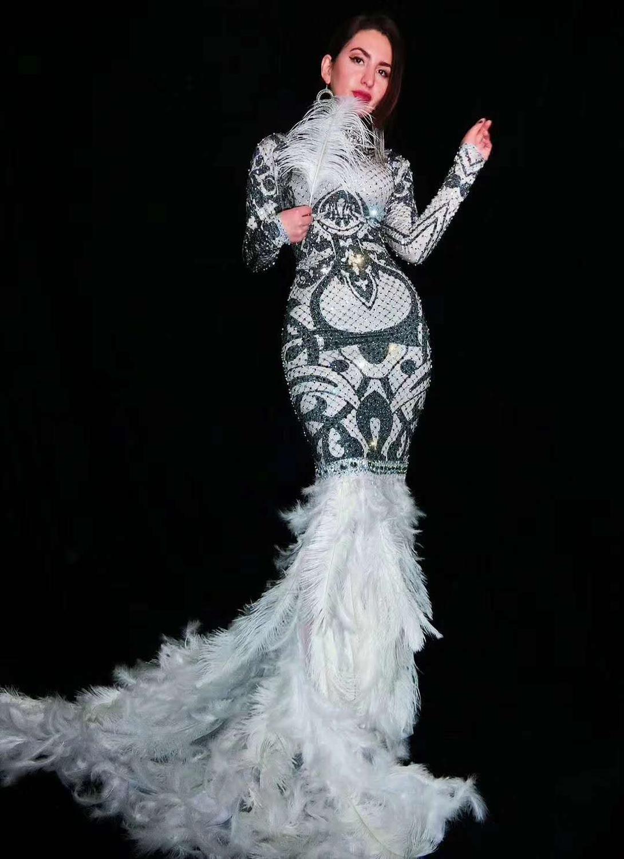 Hot koop sexy Zwart Witte Steentjes Bloemen Lange Trein Veer Jurken Glinsteren Kostuum Vrouwen Prom avondjurk - 4