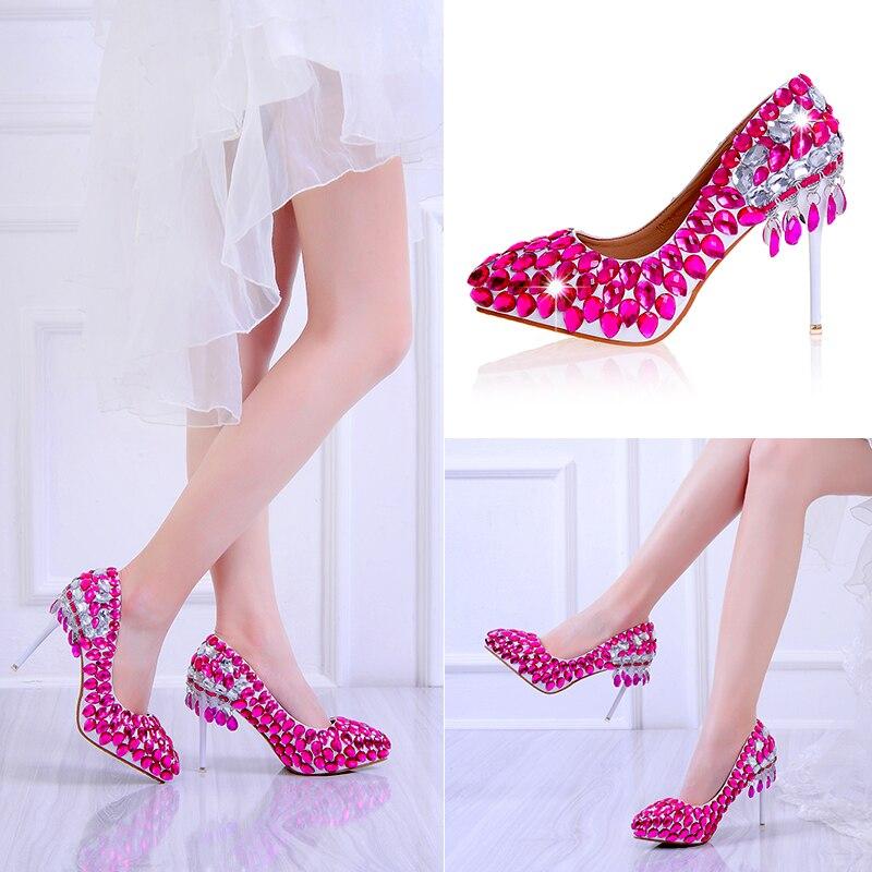 Cristal Partido Rojo Sexy Rose Red Heel Tacón Boda Bombas Clip Mujer Pie Fino Dedo Rosa En Moda Plataforma Damas Zapatos Punta Del Para 10cm De Novia qYFwHX
