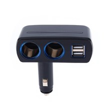 Black Color Universal 12V 24V Cigarette Lighter Adapter USB Car Chargers Dual USB Car Charger Auto