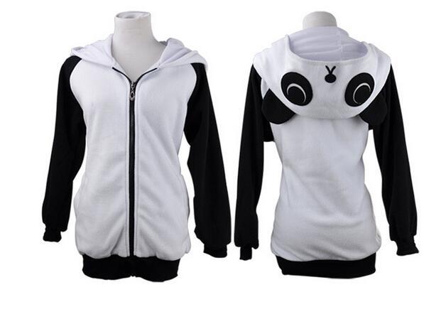 Kawaii Cosplay Animal Kung Fu Panda Cartoon Women Men Cosplay Hooded Hoodies Jacket sweatshirt with Ears Winter Warm Cute Hoody