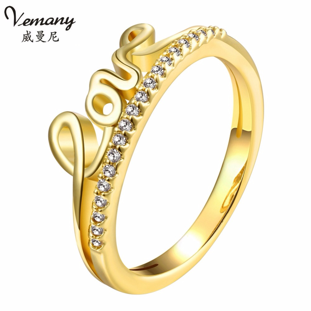 Vemany Love Declaration Zircon rings Yellow gold/rose gold ...