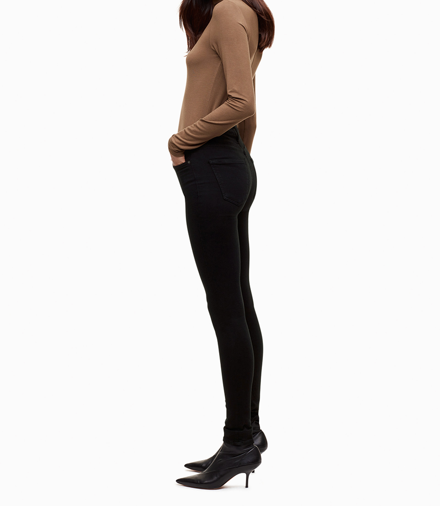 17 Modaberries women skinny jeans black high waist rise in dark 8