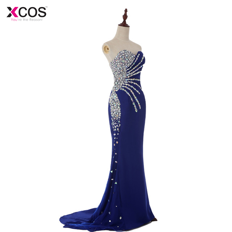 Abendkleider Real Sample Cheap Sweetheart Mermaid Crystal Royal Blue Chiffon Long Evening Dresses Fashion Prom Dresses 2016