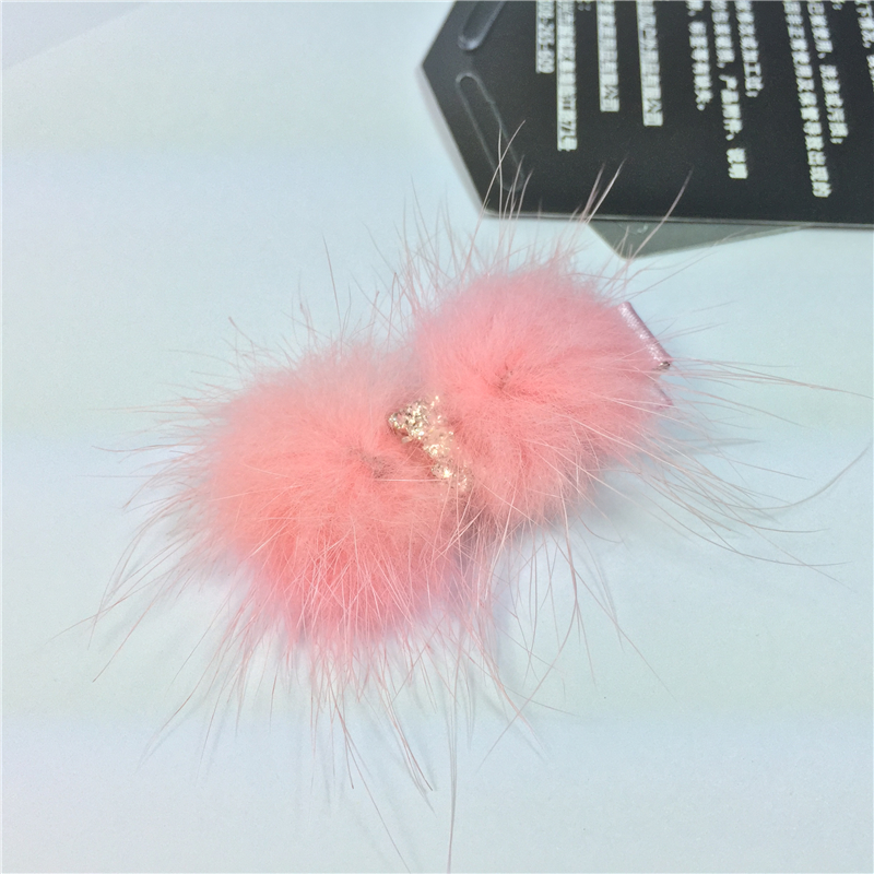 Sparkling Rhinestone Bow Rabbit soft Faux Fur Hairy Baby Girl Hair Clip Pink Red Kids Children Hair Accessories kk1240 lovely soft germination clip to candy fruit a word clip children s hair accessories