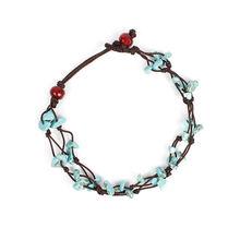 Модные летние пляжные браслеты на ногу в богемном стиле с голубым