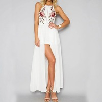 2017 Summer Boho Beach Long Dress Embroidery Split Flowers Halter Maxi Dresses Women Party White Sleeveless