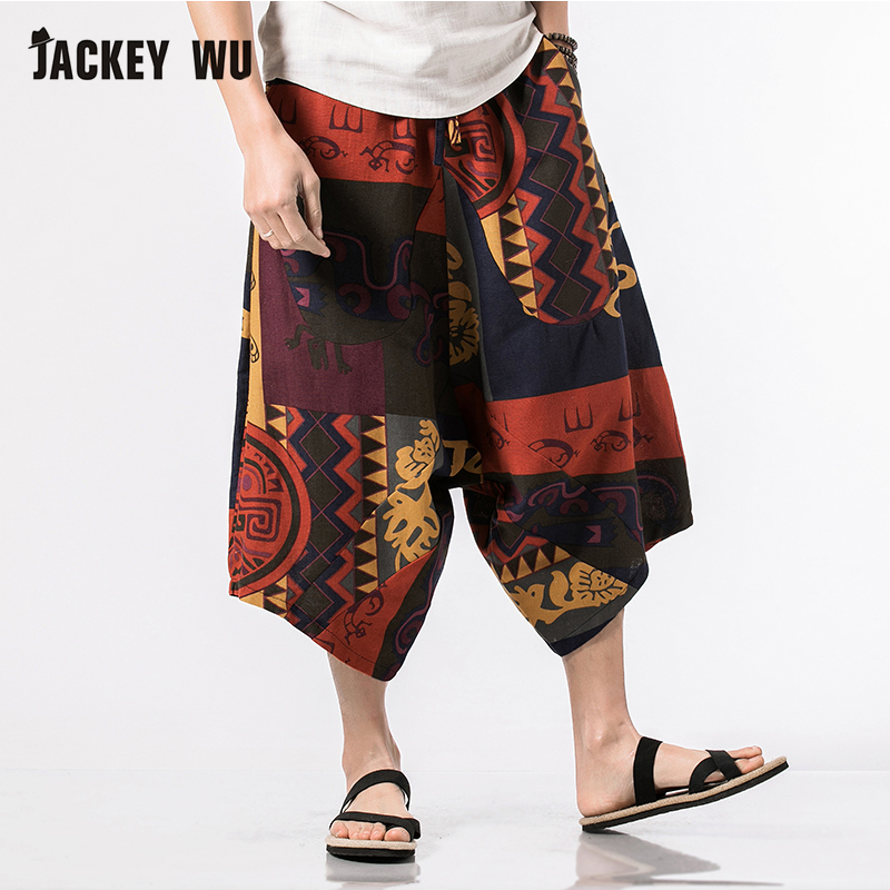 JACKEYWU Brand Linen Pants Men 2019 Fashion Casual Baggy 100% Cotton Harem Pants Ethnic Style Printed Loose Wide Leg Pants 5XL