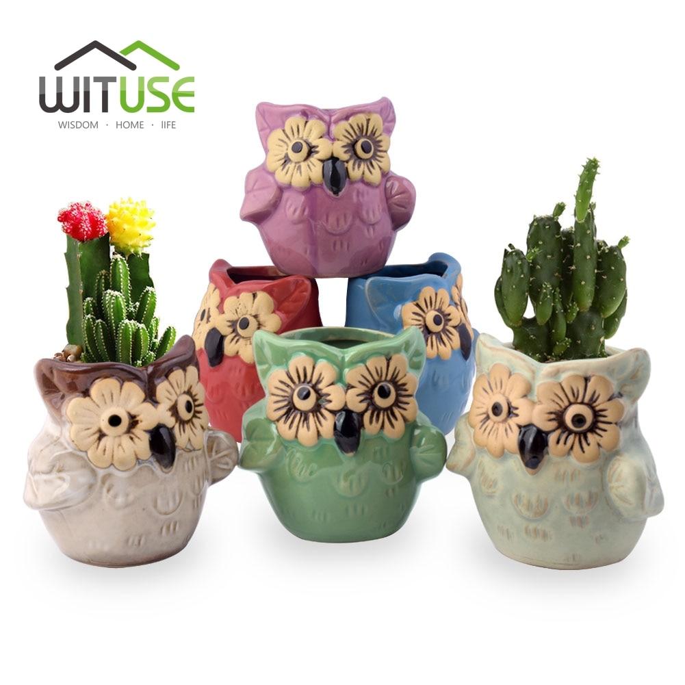 WITUSE 6 Colour/set Ceramic Flower Pot Owl Clay Garden Pot Desktop Succulent Flowerpot Nursery Pot for Balconie Bonsai Planter