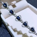 Pulseira de safira naturais 5 peças 5*7mm safira azul puro 925 pulseira de prata esterlina safira do Chinês's mina de safira
