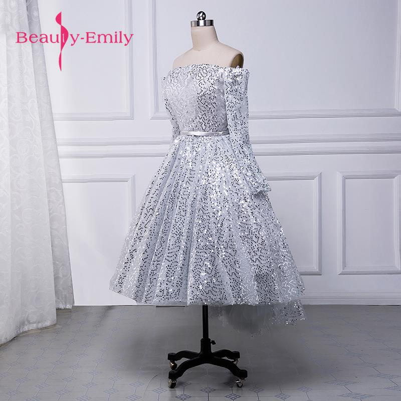 Beauty-Emily Asymmetrical Sequined Sexy Cocktail Party Prom Dresses 2017 Off the Shoulder Full Sleeve Zipper Prom Dresses