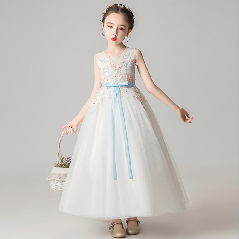 Ball Gowns For Girls Flower Long Princess Evening Wedding Girl Dresses Kids First Communion Dress Vestidos Primera Comunion