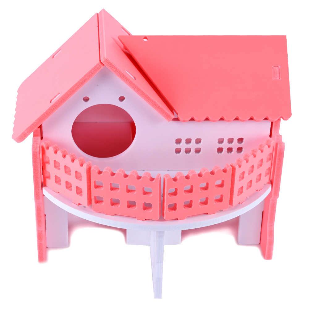 ורוד עץ אוגר בית וילה מוצק רחיץ עכברוש בתי אוגר לשחק גינאה חזיר כלוב אוגר הקביות בית לחיות מחמד אביזרי ZG0012