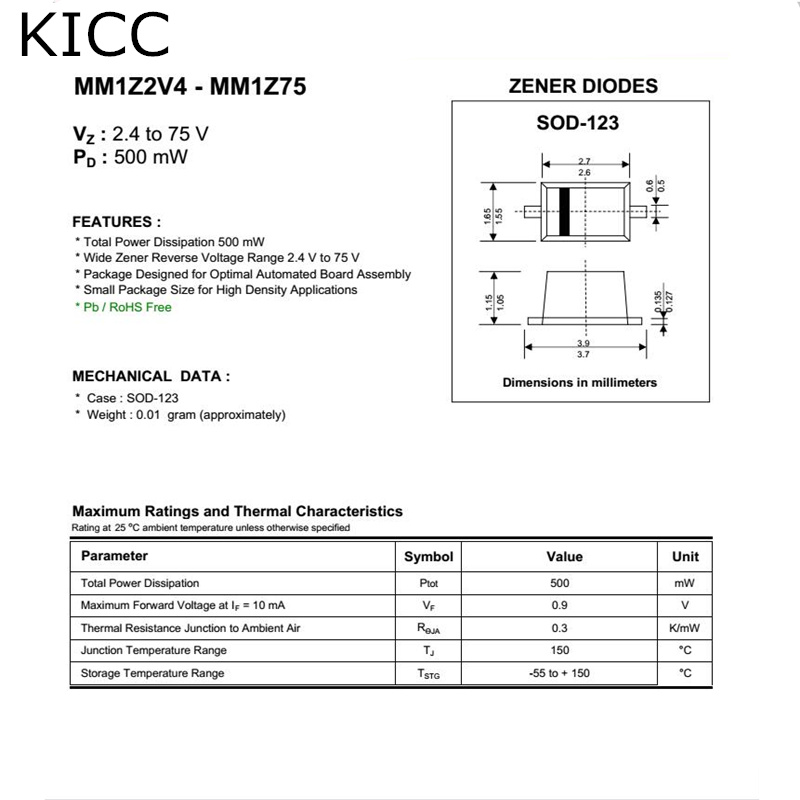 Official Website 100pcs Bzt52c3v6 3.6v W4 Sod123 1206 Selected Material Electronic Components & Supplies Integrated Circuits