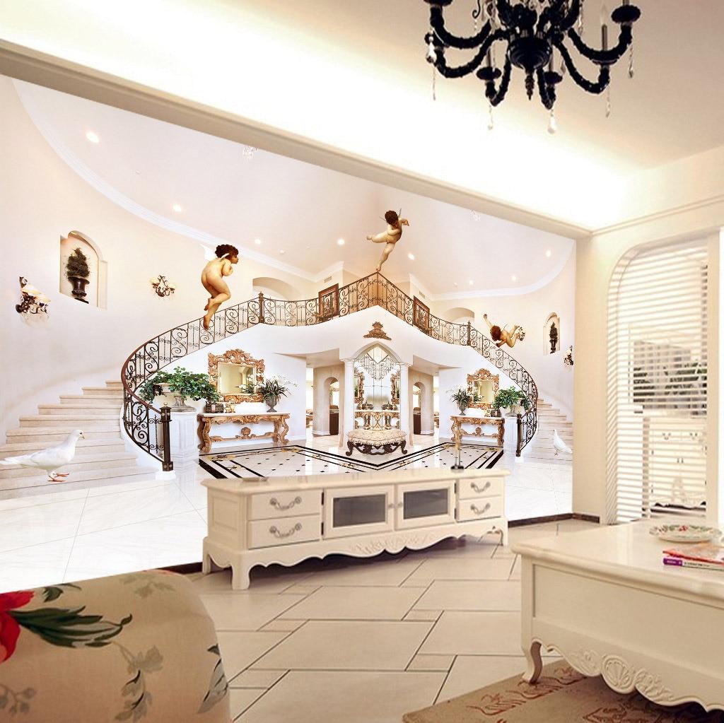 graceful happy angels en pasillo escaleras fondo rollos papel tapiz de vinilo para paredes d papel