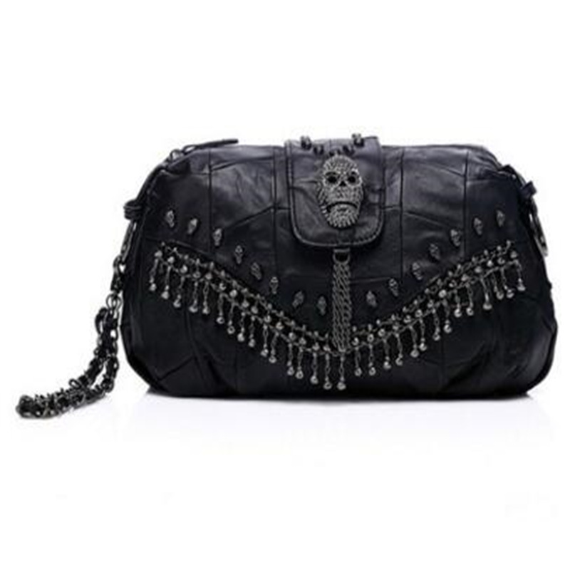 Fashion Genuine Leather Skull Rivet Women Bags Punk Style With Chains And Tassel Messenger Bags For Women Casual Hand Package halloween party zombie skull skeleton hand bone claw hairpin punk hair clip for women girl hair accessories headwear 1 pcs