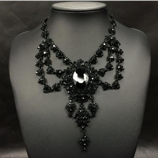 Gótico de cristal do vintage colar de pingente de colar exagerado big gem preto choker partido banquete declaração colar de jóias
