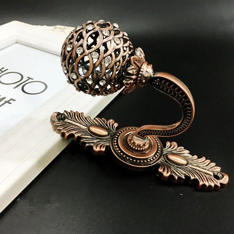 Européen 1 paire en alliage de Zinc diamant creux boule rideaux crochets mur Tieback gland serviette cintre manteau chapeau crochet rideau accessoires - 2