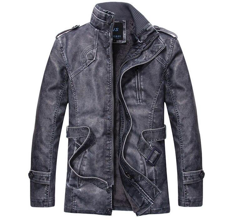 2016 winter fashion brand men Fleece Thick warm jacket men luxury PU motorcycle Leather & Suede slim jacket zipper black blue