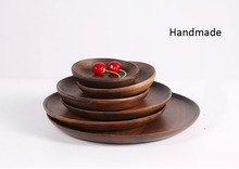 2pcs Wooden Japense Serving Trays Round Handcraft Walnut Tableware Dish Plate for Dessert Fruit Tea Snack Salad Free Shipping