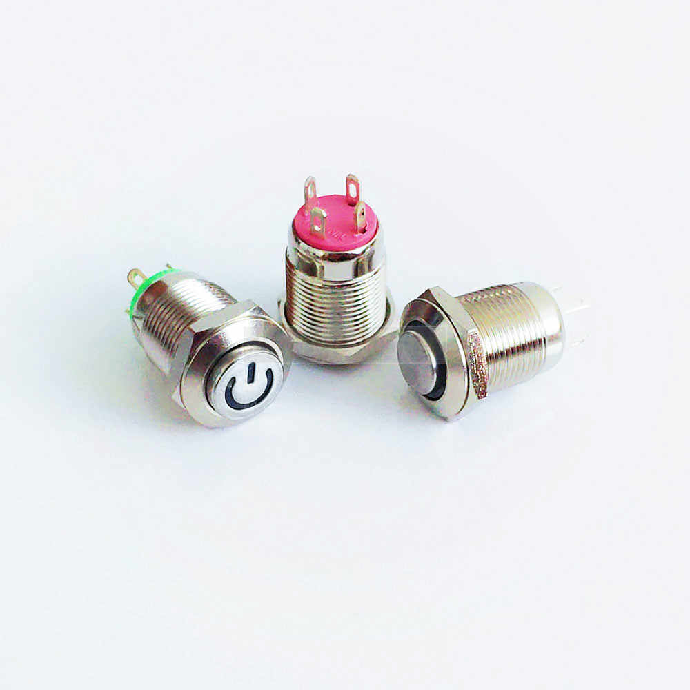 12mm metalowy przycisk Panel otwór chwilowy przycisk zasilania wyższa okrągła głowica 4 piny LED light Self-Reset wodoodporny przełącznik