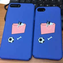 Hand Bag Dog Football Bone Pattern Funny Matte Blue Coque Case for iPhone 7 7 Plus Full Protection Phone Case Cover Shell Fundas