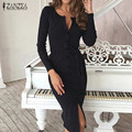 New ZANZEA Women Dress 2016 Autumn Sexy Ladies V-Neck Long Sleeve Belt Midi Casual Bodycon Pencil Dresses Solid Slim Vestidos