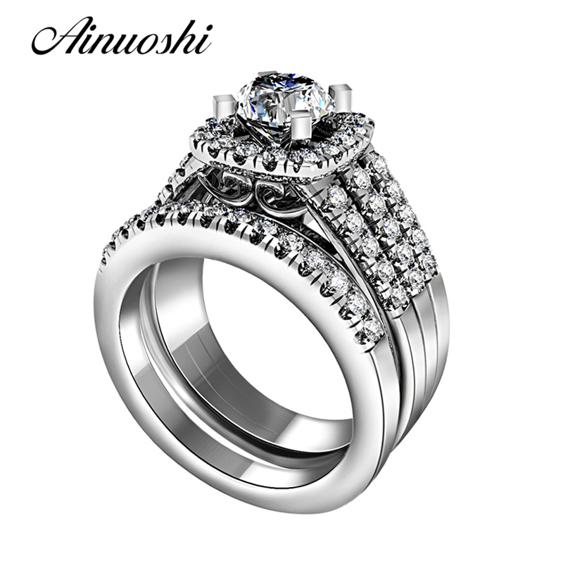 AINUOSHI Vintage Solid 925 Sterling Silver Ring Set High Quality Band 2pcs Women Luxury Wedding Engagement