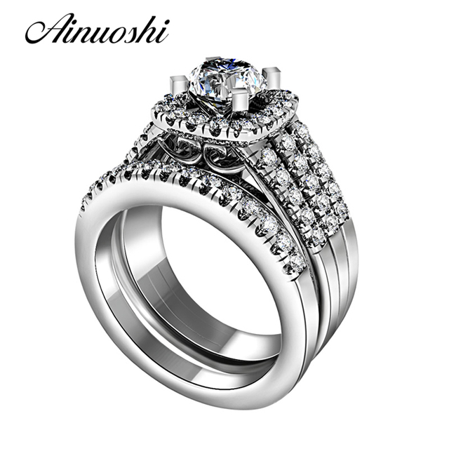 AINUOSHI Vintage Solid 925 Sterling Silver Ring Set High Quality Band 2pcs Women Luxury Wedding Engagement Bridal Ring Sets