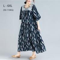 Twohexa Women Plus Size 6XL 5XL 4XL Summer Clothing Beach Style Leaves Print Cotton Linen Long Dress Loose Vintage Boho Dresses