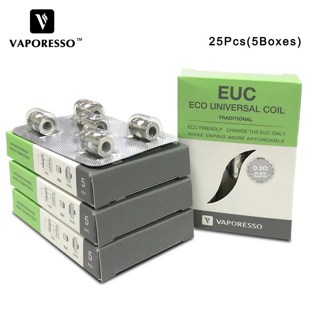 25 Pcs Vaporesso Traditionnel EUC Clapton Bobine Tête 0.3ohm 0.4ohm 0.5ohm E-cig Core Bobine pour Estoc Réservoir/cible Pro/Gemini Réservoir