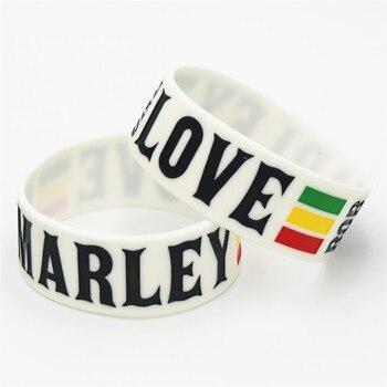 """1 Unidad 1 """"de ancho una pulsera de silicona de amor BOB Marley pulseras de reggae de Jamaica blancas Rasta y brazaletes para Fans de la música regalo SH099"""