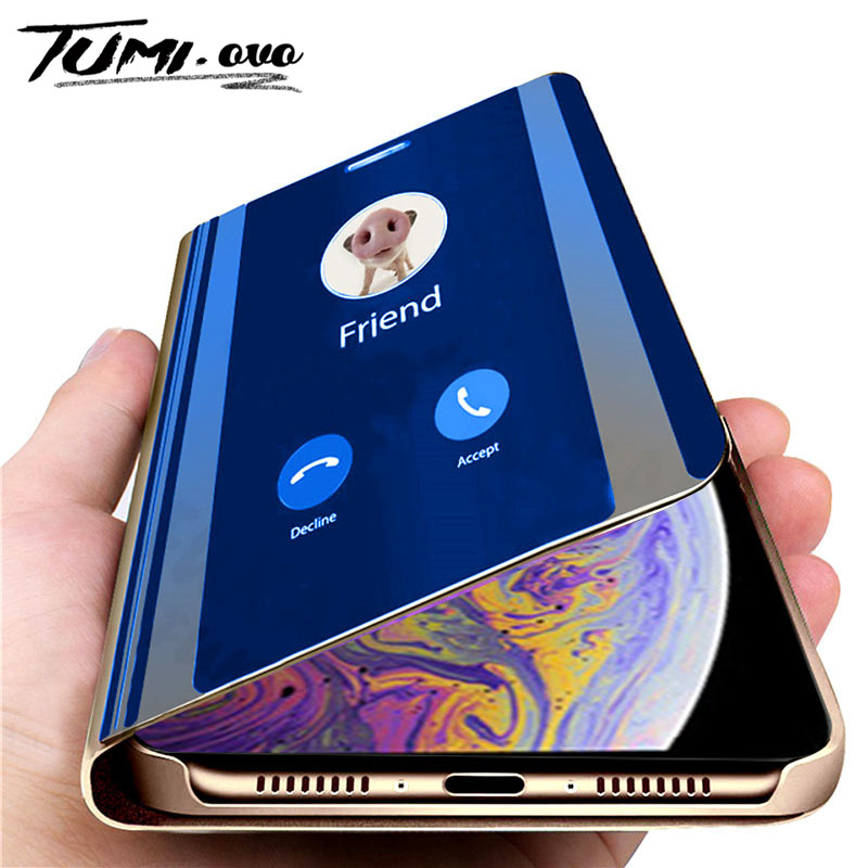 Luxury Smart Mirror Flip Phone <font><b>Case</b></font> For <font><b>iPhone</b></font> 6 <font><b>6S</b></font> 7 8 Plus X Cover <font><b>Leather</b></font> Holder Standing for <font><b>iPhone</b></font> XR XS Max <font><b>Cases</b></font> image
