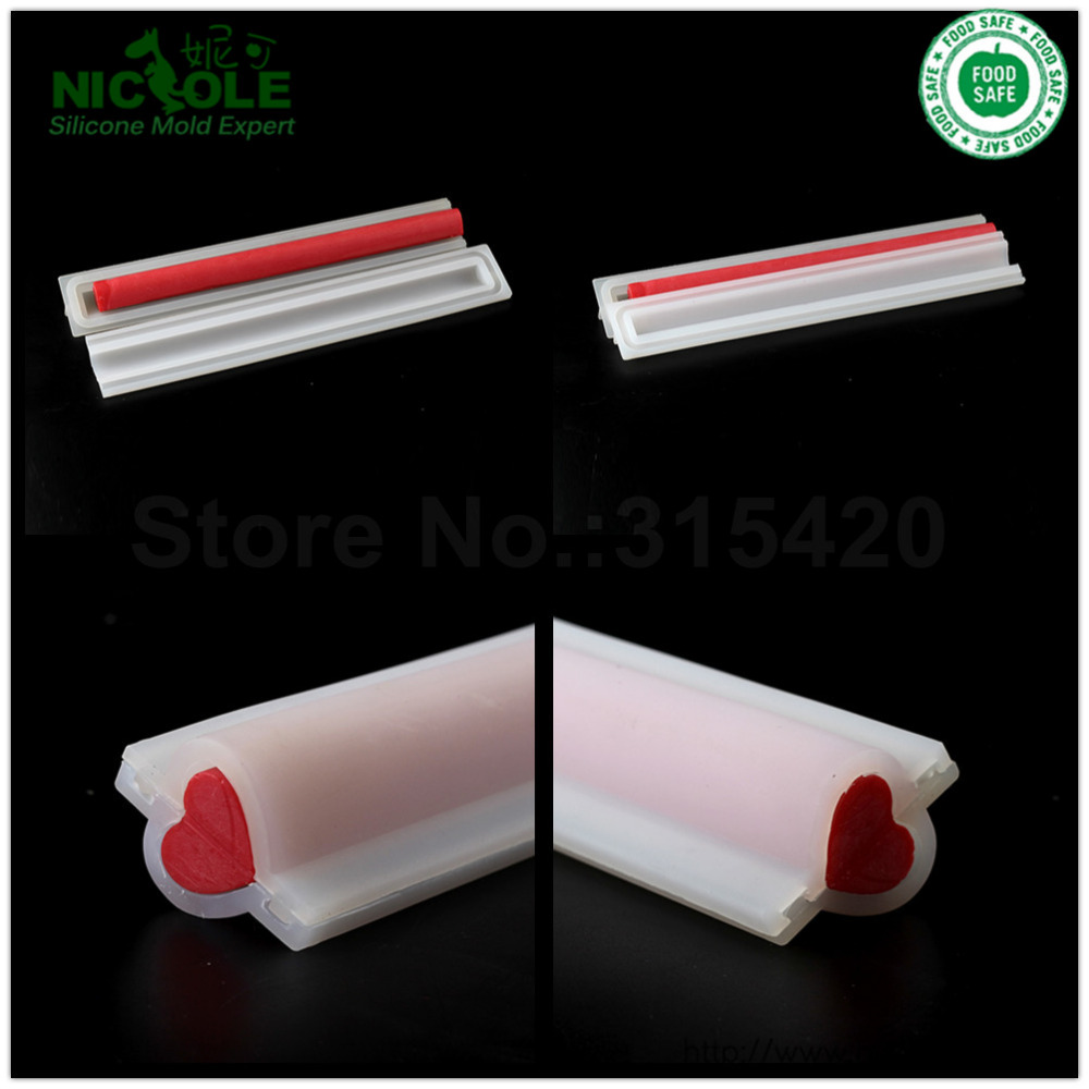 Handmade Heart Silicone Soap Tube Molds,DIY Tube Column Moulds,Handmade Decoration Tool Tube Mould