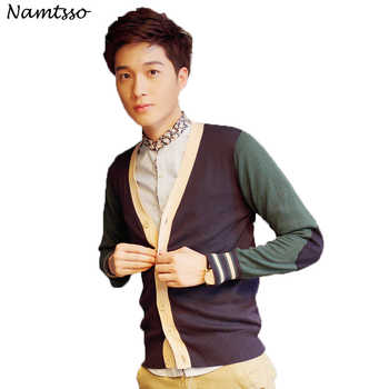 100% Cotton Knit Cardigan Men's 2018 Autumn Winter New Coloured V Neck Thin Long sleeve Sweater Cotton Hit color 161 - DISCOUNT ITEM  30% OFF All Category