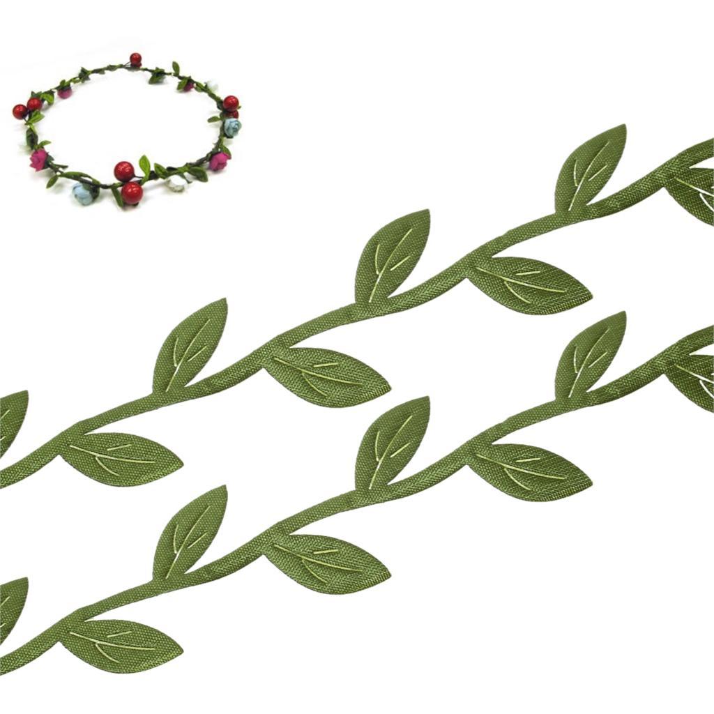 Ткань листьев гирлянда с кружевными лентами ленты отделка зеленый шитье и ткани Главная Ремесло поставить DIY ручной работы 23 мм (7/8 «), 10 м