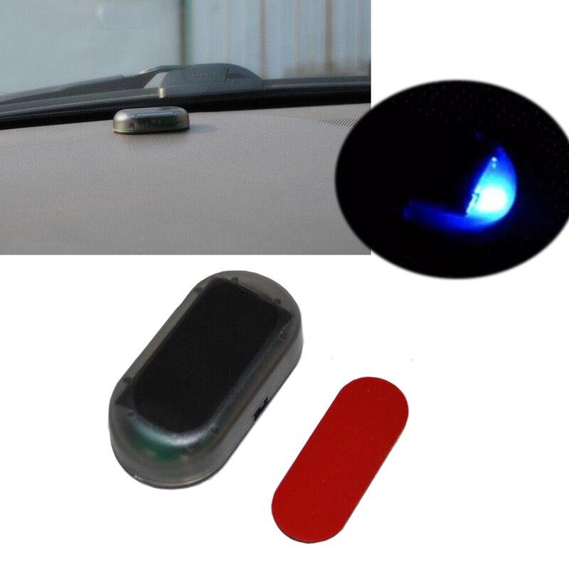 JEAZEA Voiture Universel Bleu LED Solaire Power Simulé Factice Faux Alarme Avertissement de Sécurité Anti-Vol Clignotant Lumière Stroboscopique