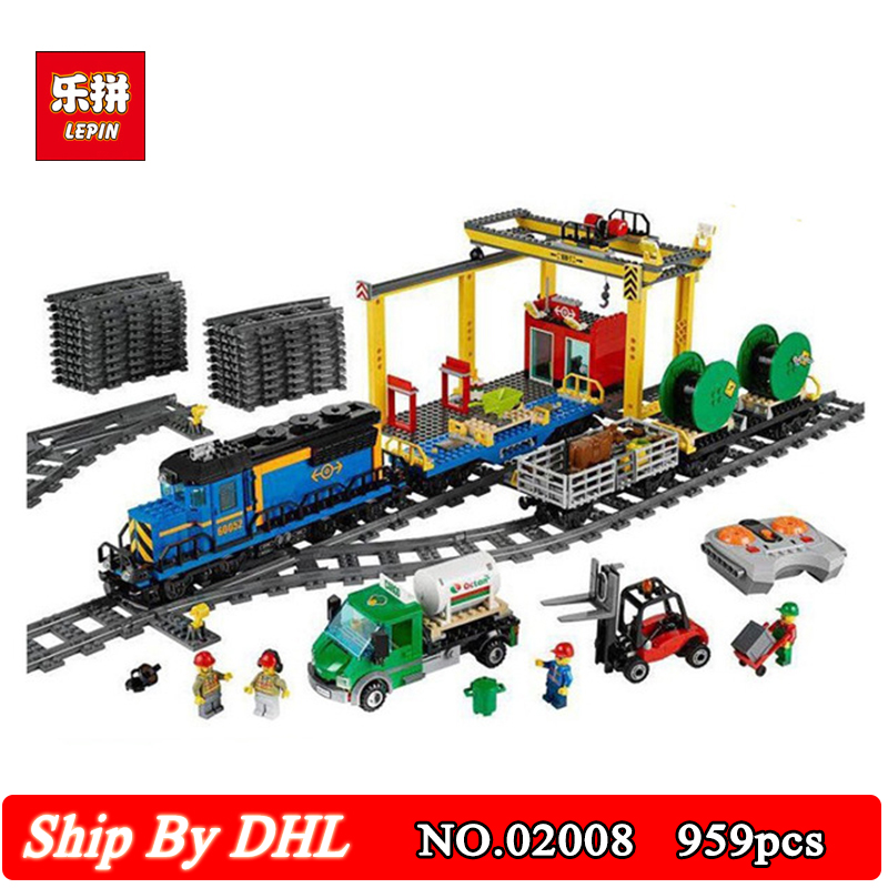 DHL Shipping Lepin 02008 Cargo Train Set Genuine City Series 60052 Building Blocks 959Pcs Bricks Educational Toys cargo train model block toys city rc train birthday gifts for children compatible lepin technic series building blocks set 02008