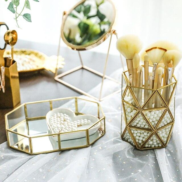 Plateau de rangement en verre miroir or | Boîte de rangement de maquillage, plateau de rangement de Style nordique, plateau de rangement de bijoux cosmétiques divers